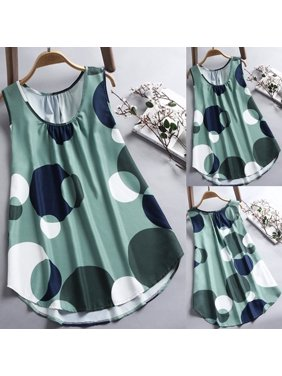 5841a2fc Product Image Summer Women's Casual Vest Large Wave Point Printed  Sleeveless T-shirt Plus Size S-