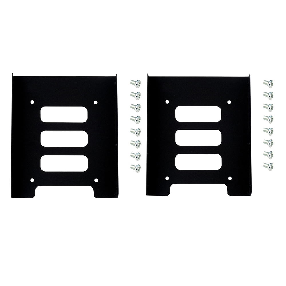 2pcs Black 2.5 To 3.5 SSD HDD Metal Adapter Mounting Bracket Hard Drive Holder With 16 Screws