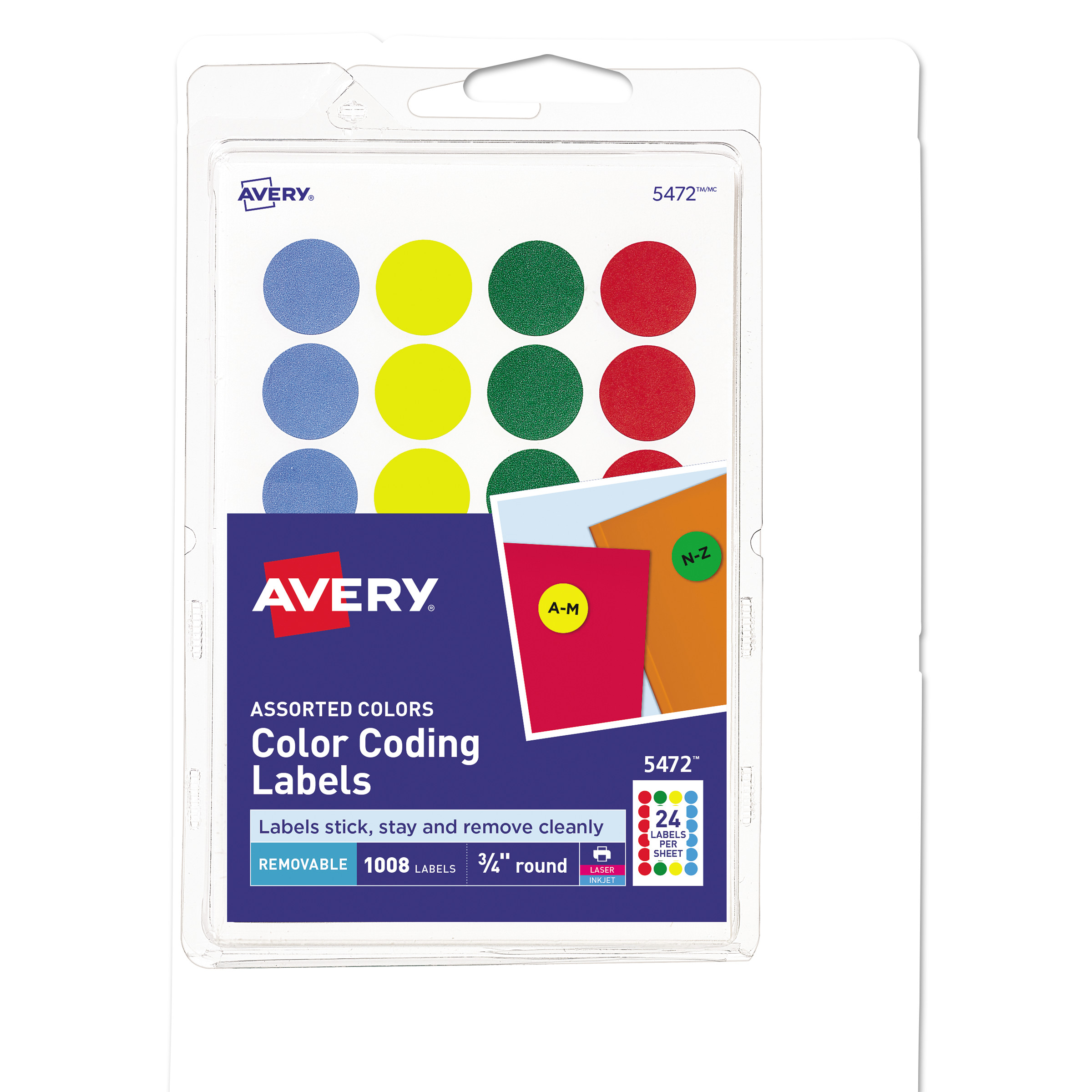 "Avery Printable Removable Color-Coding Labels, 3/4"" dia, Assorted, 1008/Pack"