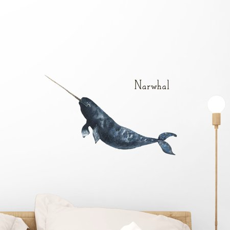 Watercolor Whale Narwhal Wall Decal Wallmonkeys Peel and Stick Graphic (18 in W x 12 in H)