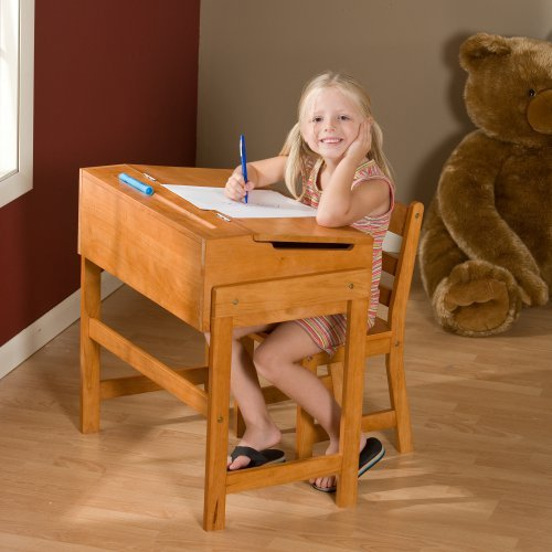 Schoolhouse Desk and Chair Set - Pecan