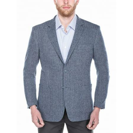 Worsted Wool Blazer - Big Men's Navy and Light Blue Wide Herringbone 100% Wool Blazer