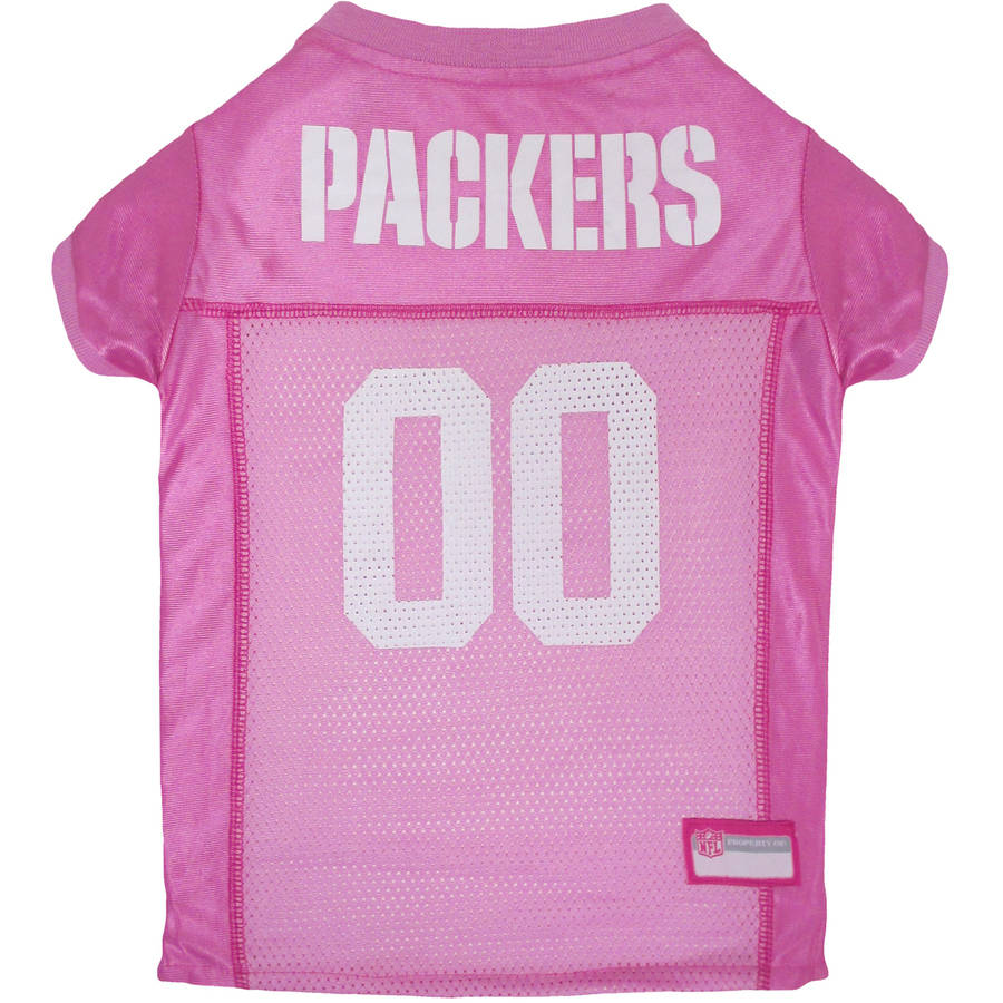 Pets First NFL Green Bay Packers Pet Pink Jersey, 4 Sizes Available