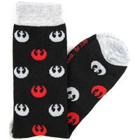 Star Wars Socks Grey & Red Rebel Logos Men's Crew Socks Shoe Size 6-12