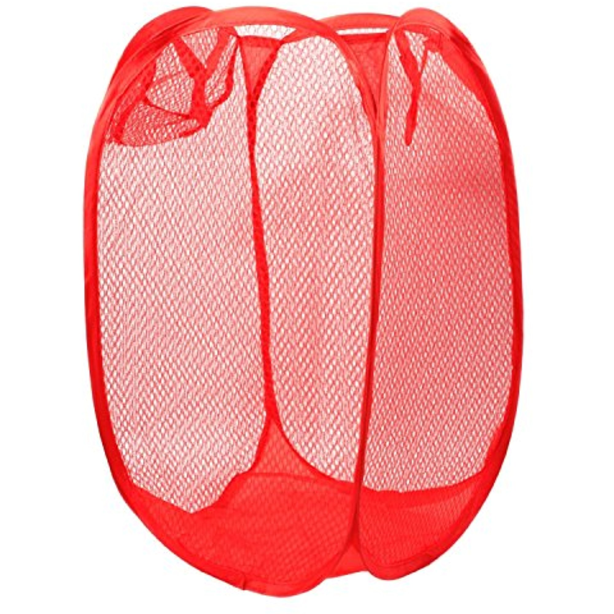 Pop Up Laundry Hamper - Includes Homemade Stain Removal Recipe - Household Storage Essentials (Red)