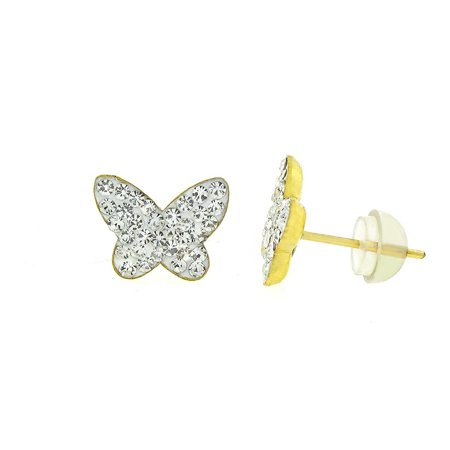 Copper Crystal Earrings - 14k Yellow Gold and Copper Butterfly Stud Earrings with Swarovski Element Crystals, Choice of Colors