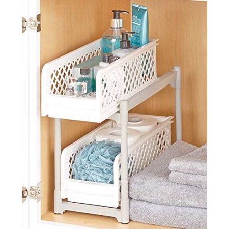 2-Tier Sliding Bathroom Storage Shelf Sliding Rackmount Shelf