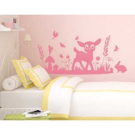 Bambi Deer in Nature Wall Decal - wall decal, sticker, mural vinyl art home decor - 4640 - White, 12in x 10in