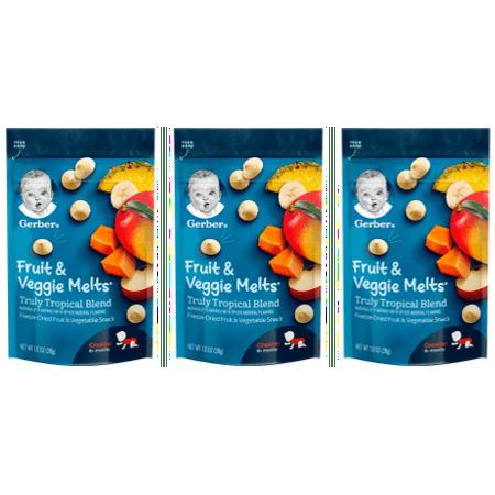 (3 Pack) Gerber Fruit & Veggie Melts Freeze-Dried Fruit and Vegetable Snacks, Truly Tropical Blend, 1 oz. - Vegetable Snacks For Halloween