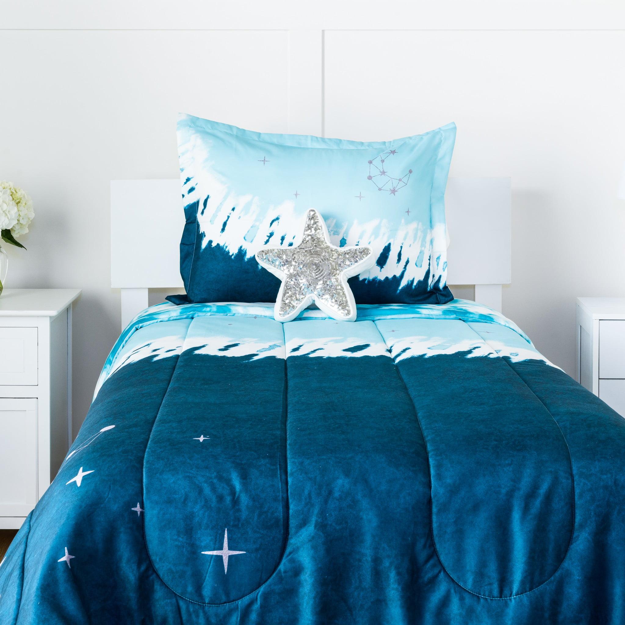 Justice Teen/Tween Tie-Dye Polyester Reversible Comforter Sets, Twin/Full, Blue, 3-Pieces