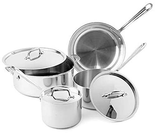All-Clad Tri-Ply Stainless Steel 7 Piece Cookware Set by