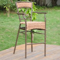 International Caravan Cebu Aluminum Outdoor Wicker Barstool - Set of 2