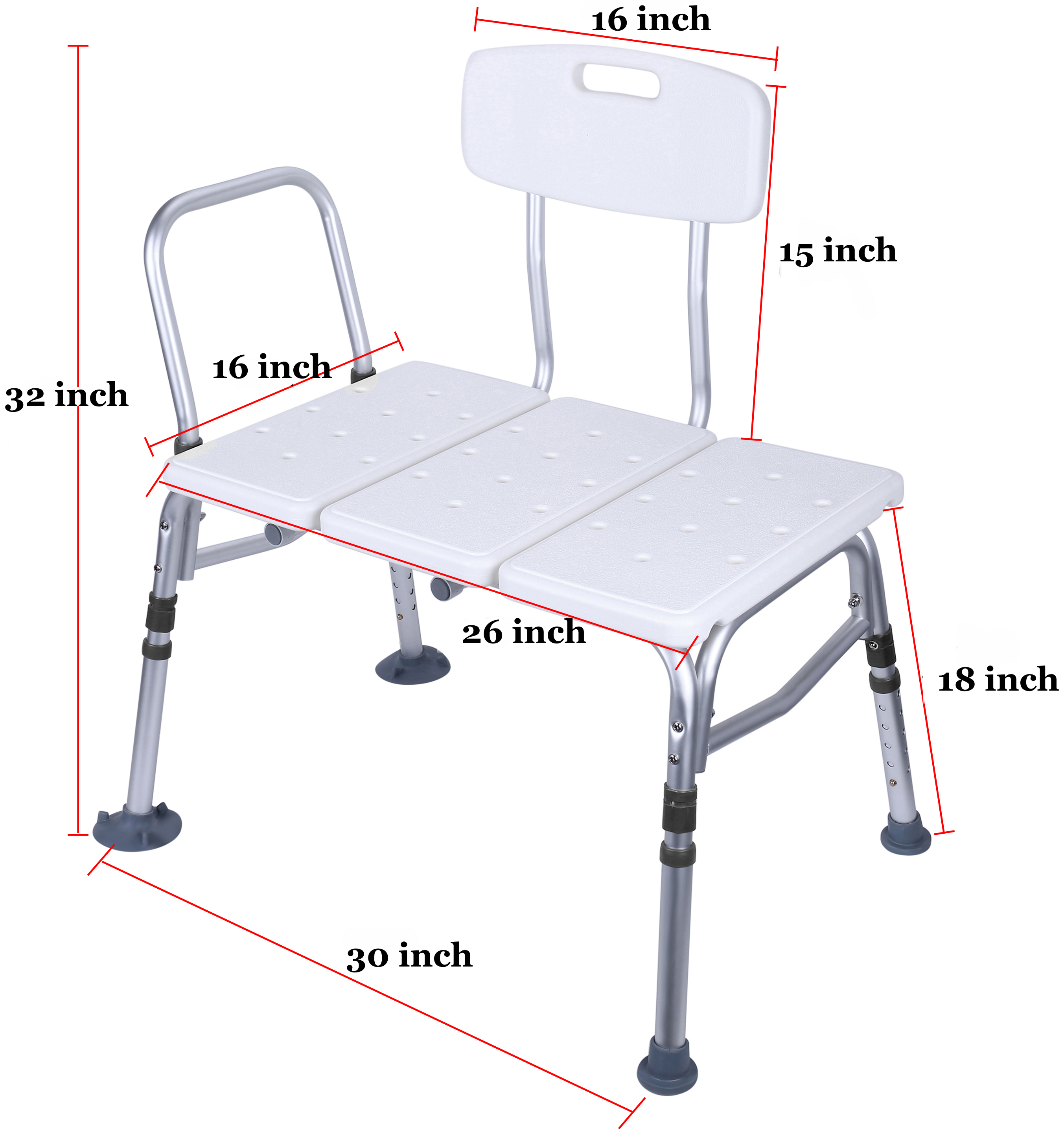 Everyday Essentials Adjustable Height Bath Shower Tub Bench Chair