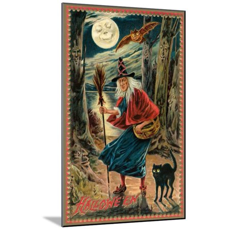 Witch and Black Cat in Forest Wood Mounted Print Wall Art (Wood Witchs)