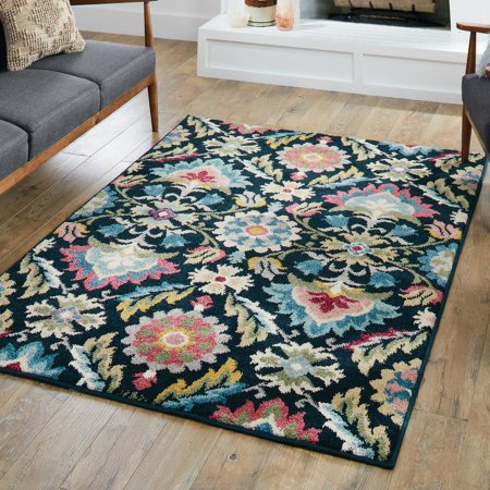 Better Homes & Gardens Folk Art Blooms Navy/Multi Area Rug or Runner