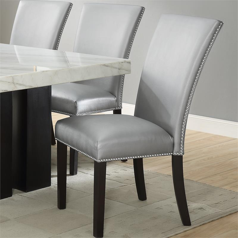 Steve Silver Camila Faux Leather Dining Chair In Silver