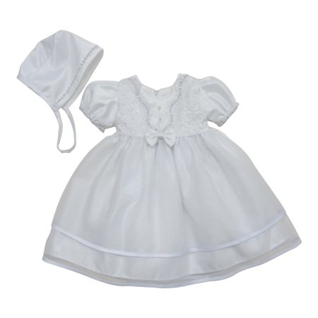 Baby Girls White Embroidered Satin Organza Bonnet Christening Gown