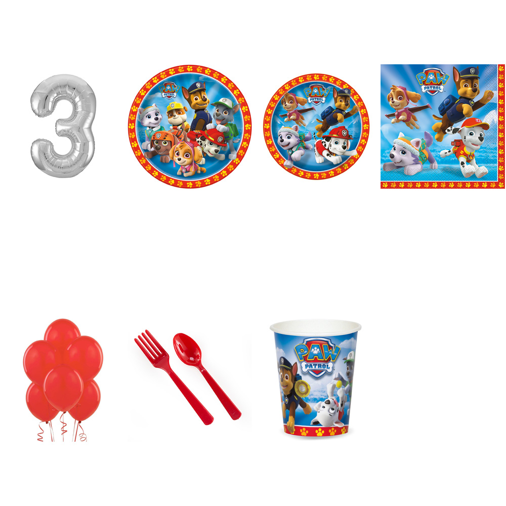 PAW PATROL PARTY SUPPLIES PARTY PACK WITH SILVER #3 BALLOON