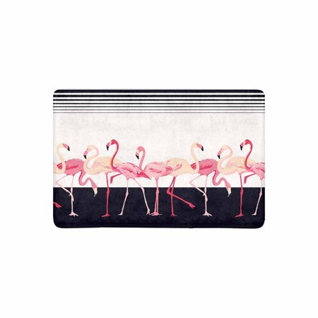 Shabby Rag - MKHERT Shabby Chic Pink Flamingo Birds with Stripes Lines Doormat Rug Home Decor Floor Mat Bath Mat 23.6x15.7 inch