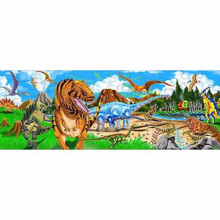 Melissa & Doug Land of Dinosaurs Floor Puzzle (Easy-Clean Surface, Promotes Hand-Eye Coordination, 48 Pieces, 4 Feet