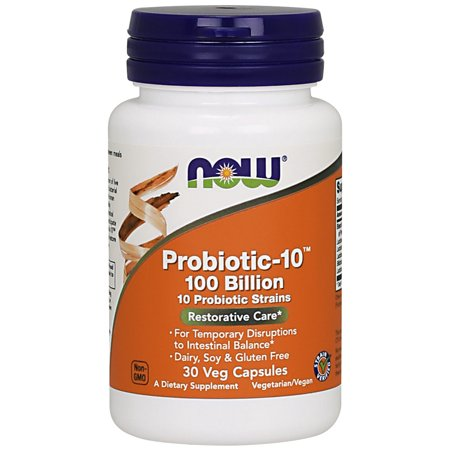 Gluten Free Lactose Free (NOW Supplements, Probiotic-10™, 100 Billion, with 10 Probiotic Strains,Dairy, Sory and Gluten Free, Strain Verified, 30 Veg)