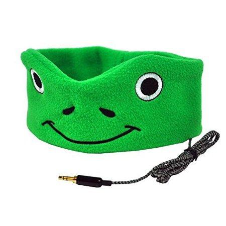 CozyPhones Kids Headband Headphones Volume Limited Childrens Earphones Ultra-Thin Speakers Home Travel Sleep Comfortable Soft Fleece (GREEN FROGGY) Boys Girls Toddler
