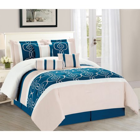WPM 7 Pieces Complete Bedding Ensemble Turquoise Blue White Beige print Luxury Embroidery Comforter Set Bed-in-a-bag elegant King Size Bedding ()