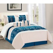 wpm 7 pieces complete bedding ensemble turquoise blue white beige print luxury embroidery comforter set bed - Turquoise Bedding