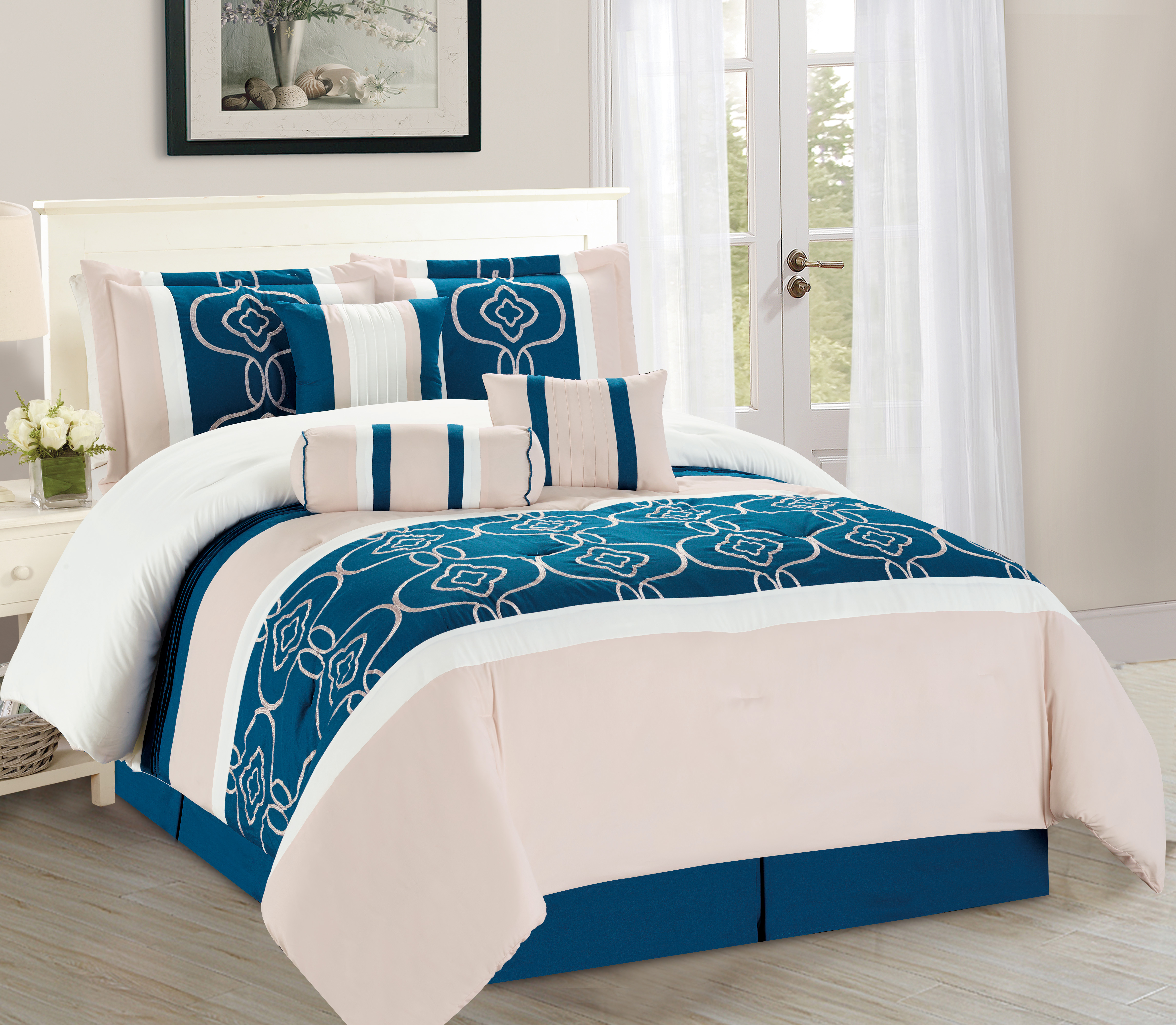 wpm 7 pieces complete bedding ensemble turquoise blue white beige print luxury embroidery comforter set bed