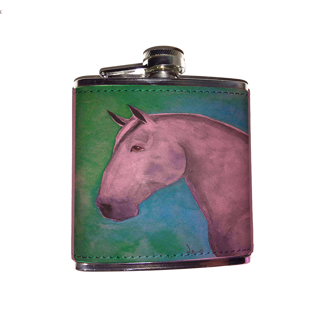KuzmarK Pink Leather Flask - Dapple Gray Shire Draft Horse Art by Denise Every