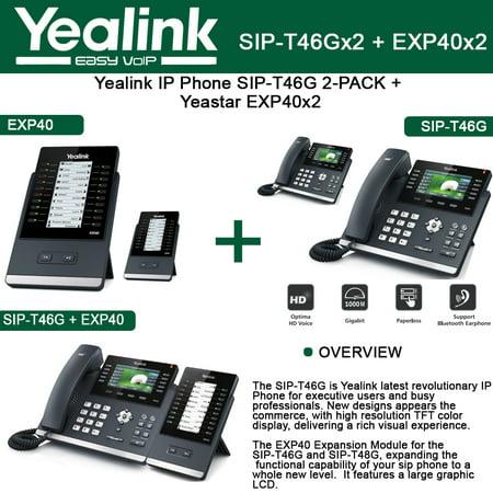 Yealink Ip Phone Sip T46g 2 Pack 16 Lines Poe   Exp40 2 Pack Expansion Module