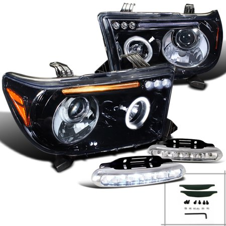 Spec-D Tuning For 2007-2013 Toyota Tundra Halo Rim Glossy Black Projector Headlights W/Led Fog Strips (Left + Right) 2007 2008 2009 2010 2011 2012 2013