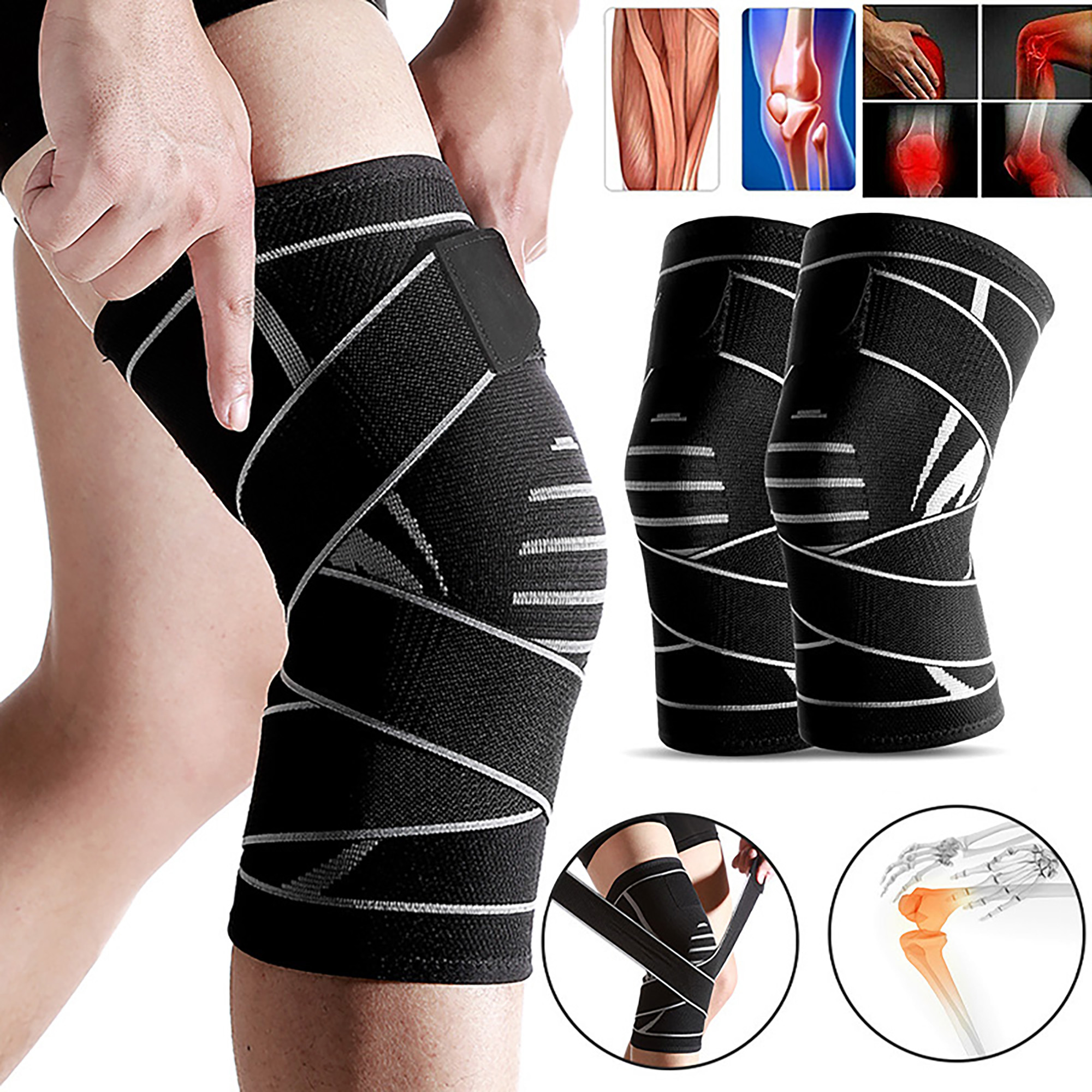 Recovery and Protection M Arthritis Running and Sports Ideal for Joint Pain , Black Sports Knee Compression Sleeve Sports Running Injury Knee Support 35-41cm Arthritis Knee Brace