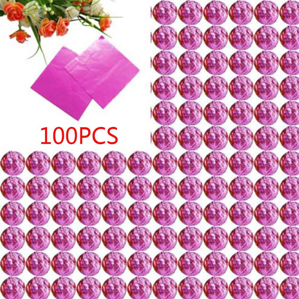 100pcs Square Aluminum Foil Wrappers Colorful Package for Sweets Candy Chocolate Lollipops