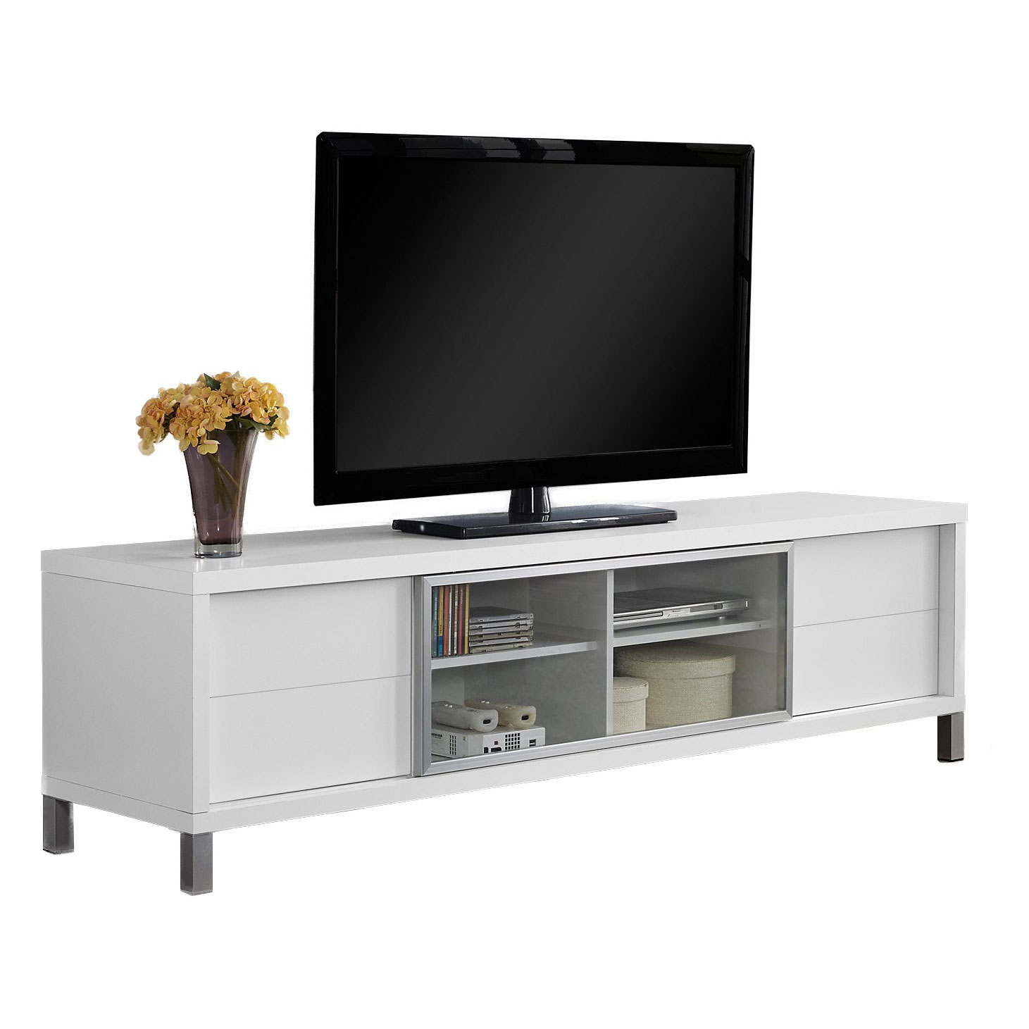 """Monarch Tv Stand White Euro Style For TVs Up To 70""""L"""