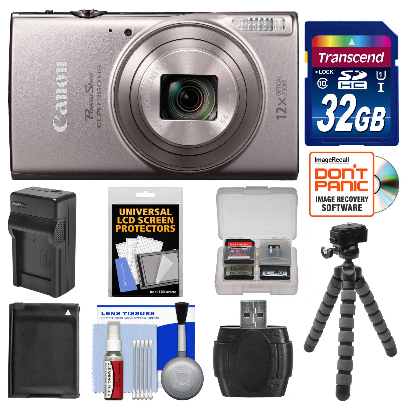 Canon PowerShot Elph 360 HS Wi-Fi Digital Camera (Black) with 32GB Card + Battery & Charger + Flex Tripod + Kit