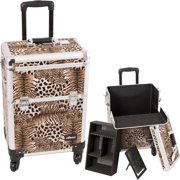 Brown Interchangeable 4-Wheels Leopard Textured Printing Professional Rolling Aluminum Cosmetic Makeup Case with Removable Tray and Dividers - E6301
