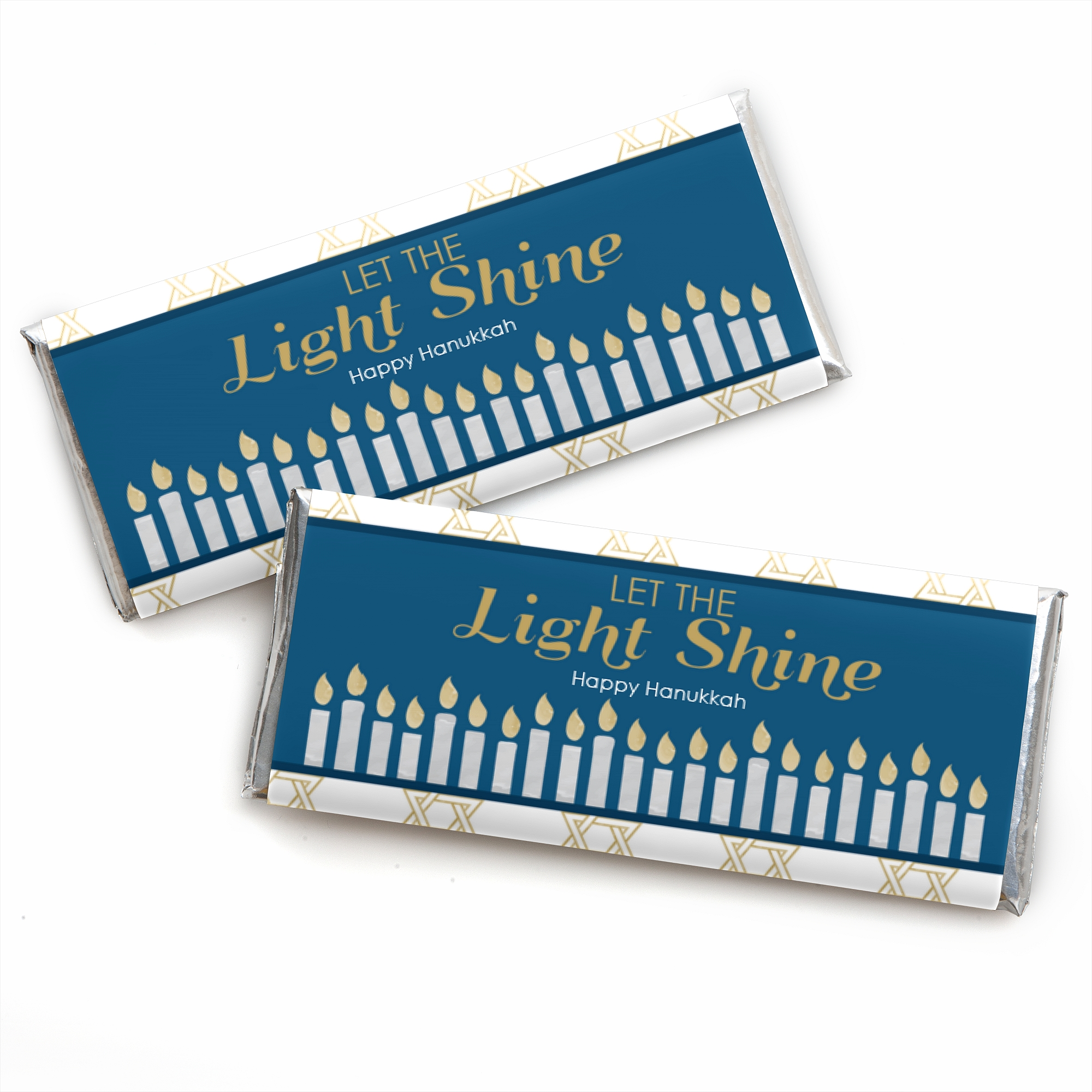 Hanukkah Candy Bar Wrapper Chanukah Party Favors Set of 24 by Big Dot of Happiness, LLC