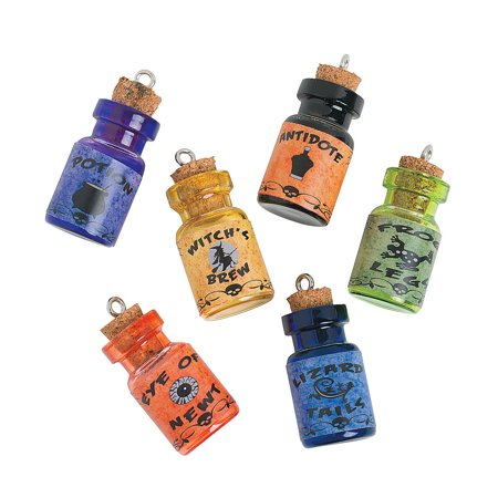 Fun Express - Wizard Potion Charm Bottles for Halloween - Craft Supplies - Adult Beading - Charms - Halloween - 6 Pieces
