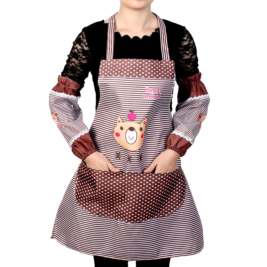 Women Kitchen Restaurant Cooking Aprons Pocket Gift Apron Coffee Color w Sleeves