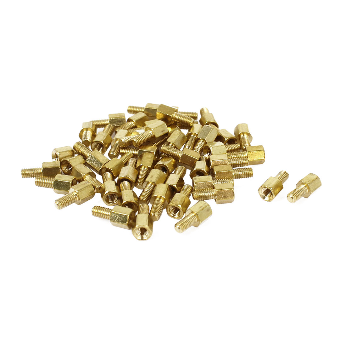 50 Pcs M3x5mm+6mm Male Female Brass Screw PCB Standoffs Hexagonal Spacers