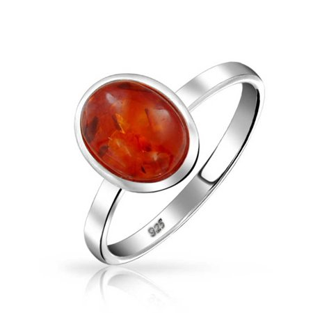 925 Silver Southwestern Style Oval Synthetic Honey Amber Ring