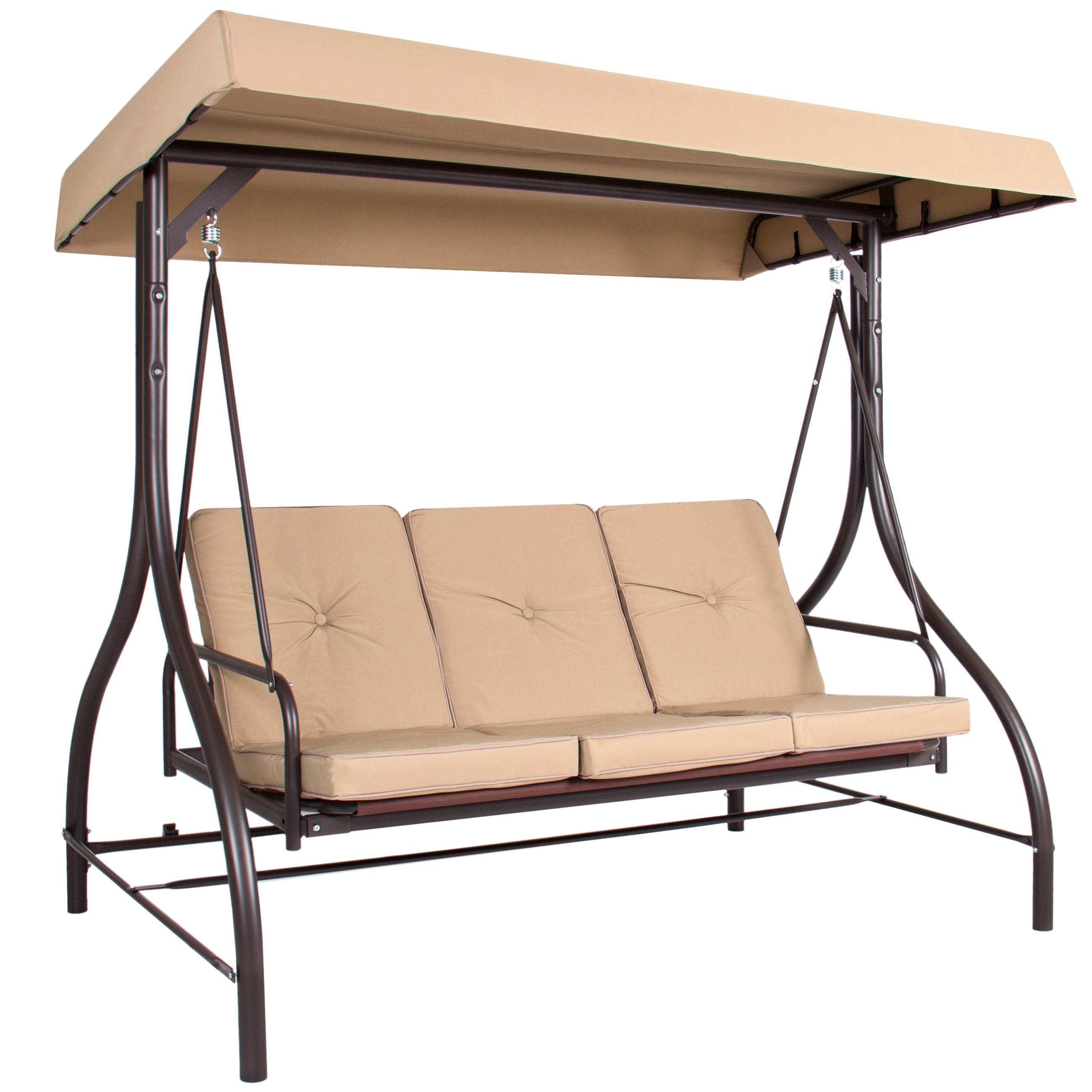 Converting Outdoor Swing Canopy Hammock Seats 3 Patio Deck Furniture - Tan