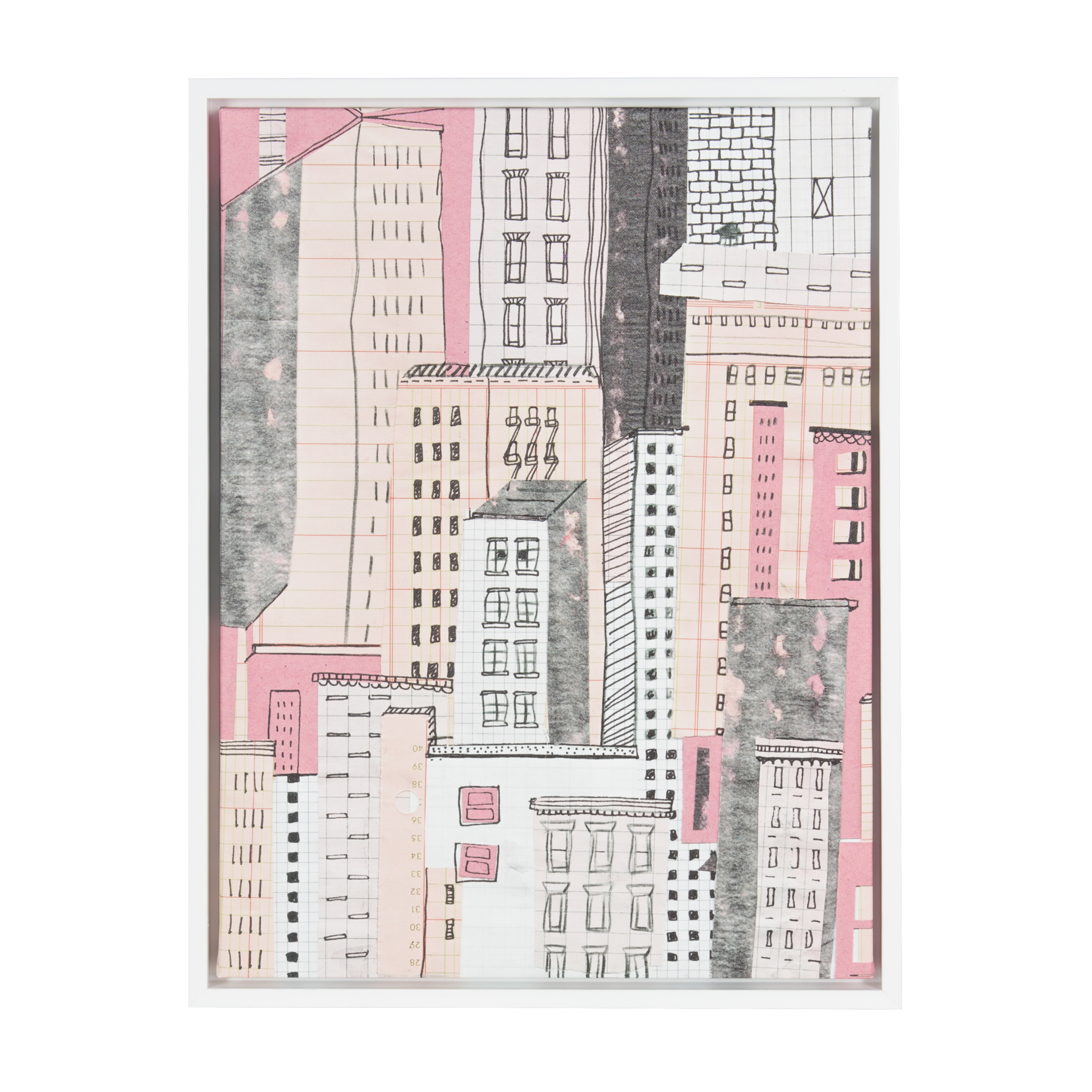 Kate and Laurel Sylvie Buildings 18x24 White Framed Canvas Wall Art by Barb Chotiner