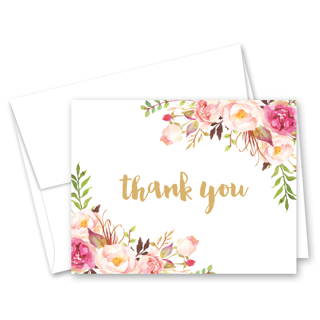 Watercolor Floral Thank You Cards and Envelopes - 50 Count
