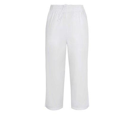 Adar Universal Natural-Rise Capri Drawstring Pants - 508 - White - - Capri Drawstring Trunk