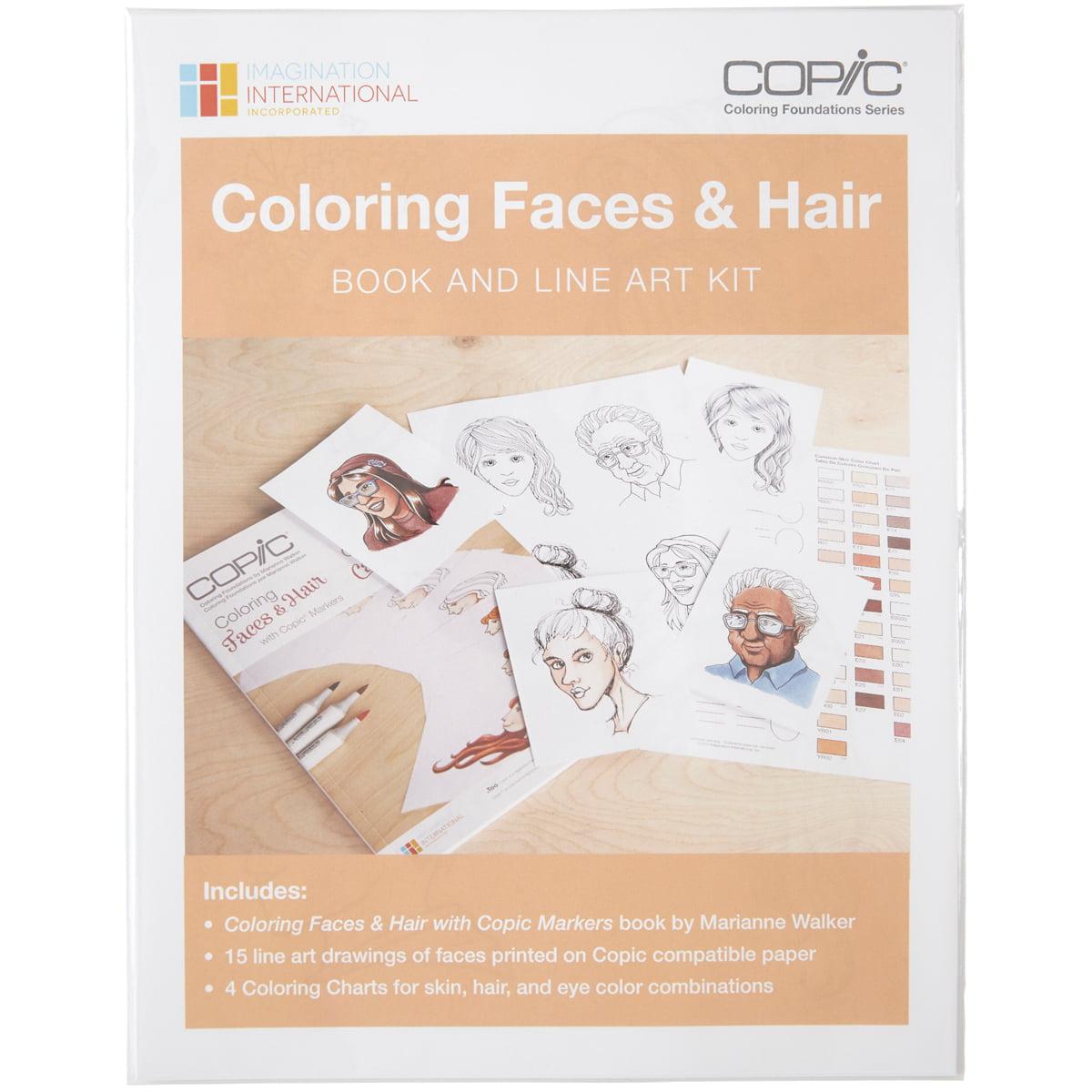 Copic Coloring Faces Book & Line Art Kit - Walmart.com