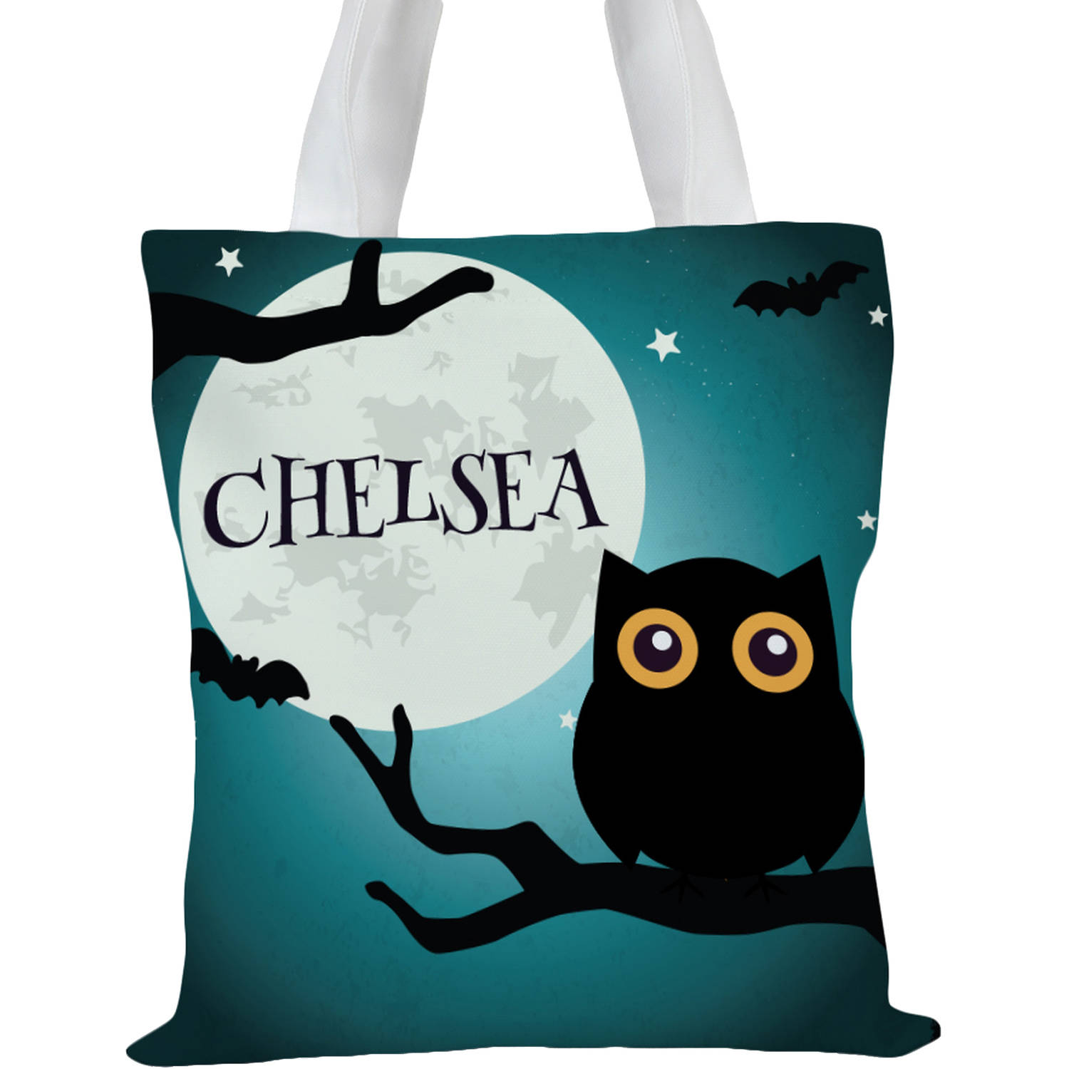 "Custom Kids Happy Halloween Owl Tote Bag, Sizes 11"" x 11.75"" and 15"" x 16.25"""