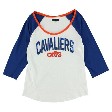 2b31a1505 5th   Ocean Womens Cleveland Cavaliers Raglan Sequence T Shirt White -  Walmart.com