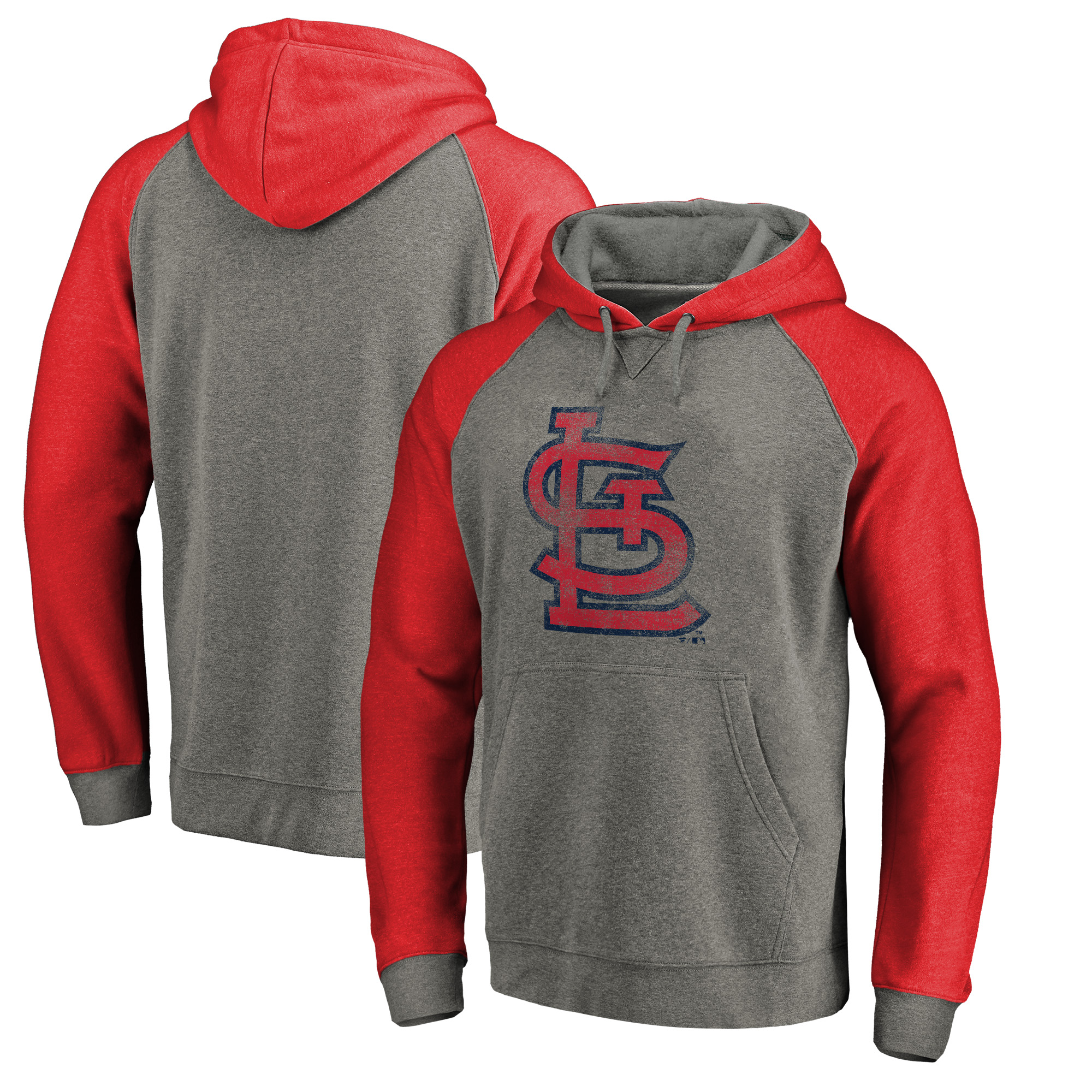 St. Louis Cardinals Fanatics Branded Distressed Team Logo Tri-Blend Big & Tall Raglan Pullover Hoodie - Gray/Red